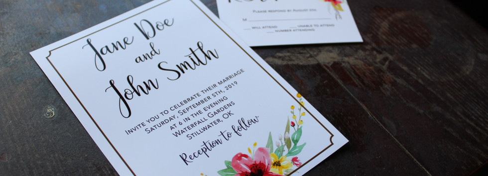 Red + Yellow Flowers Invitation