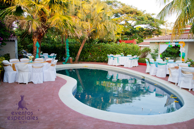 piscina campestre decoracion verde menta celeste