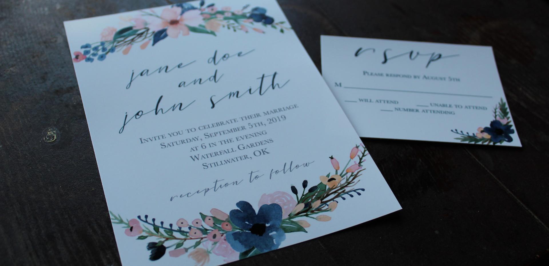 Navy + Blush Flowers Invitation