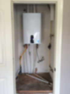 A Navien Tankless Water Heater installed by David from Advantage. This is located in a remodeled home.