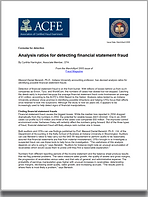 ACFE Analysis ratios for detecting finan