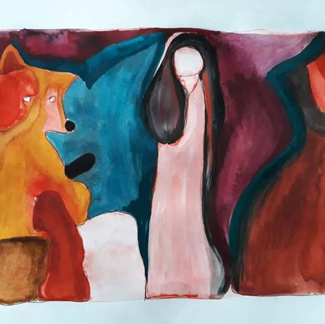 Liška, anděl, kočka