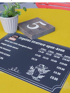 Coffee table menu, printed and laminated for all weather