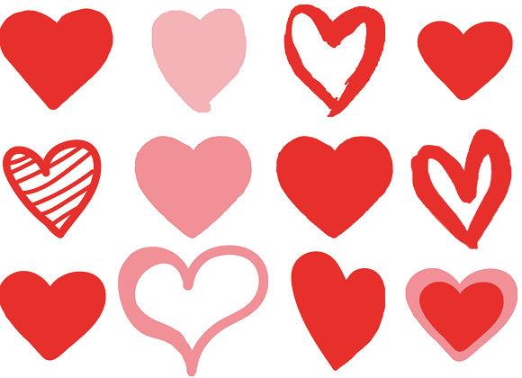 Heart stickers, 12 per sheet