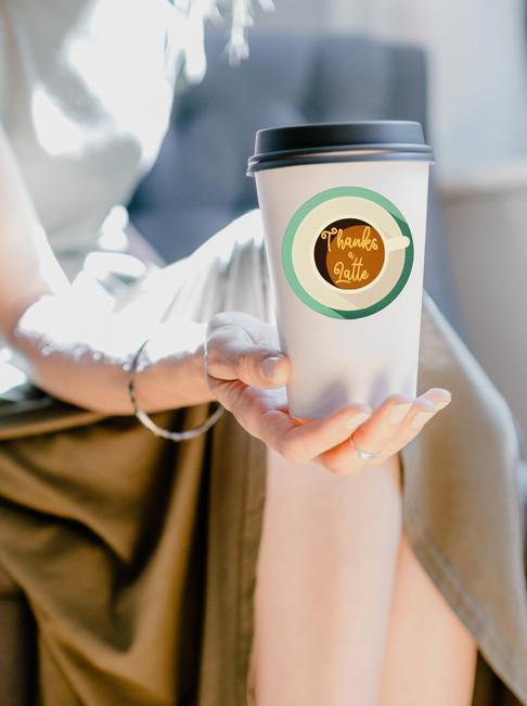 Thanks a latte sticker