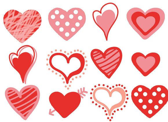 Funky Heart stickers, 12 per sheet
