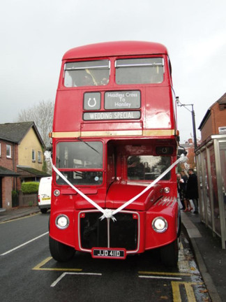 Wedding day red bus
