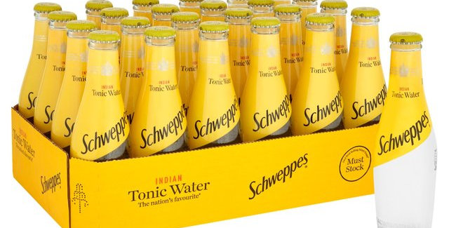 Schweppes Tonic 200ml glass bottles, 75p each, sold by the case of 24