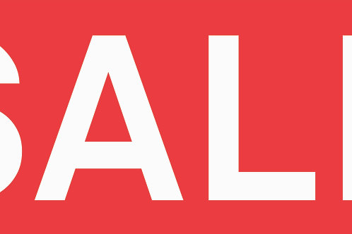 Sale window signs 'white on red' choose size