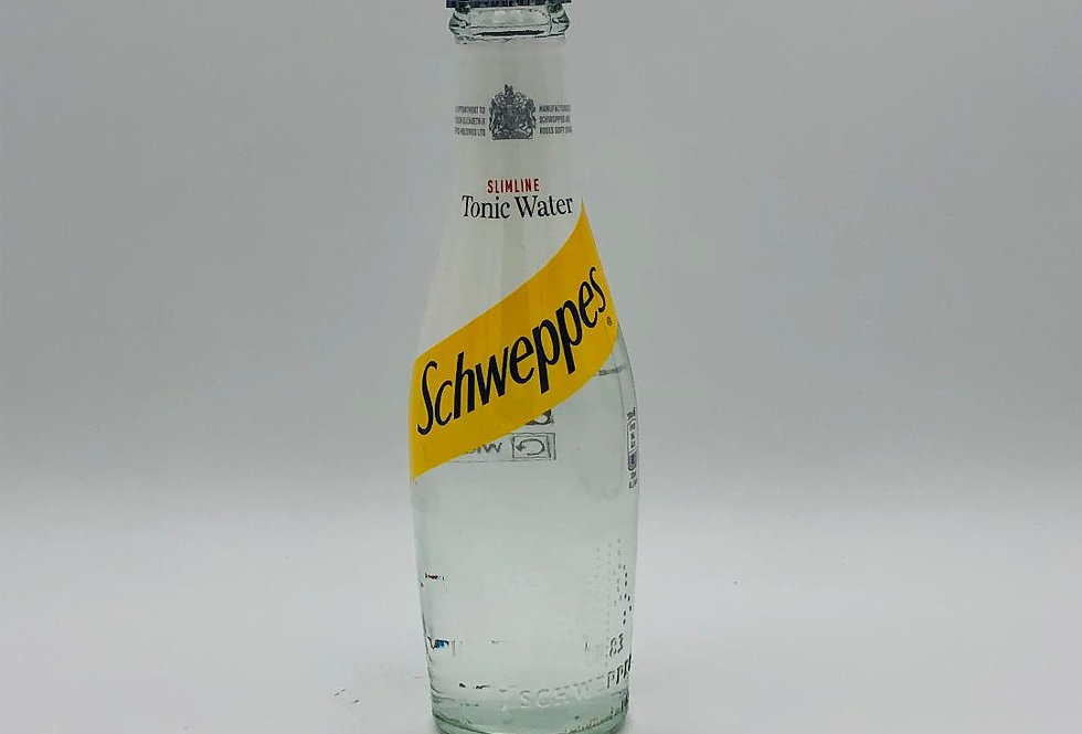 Schweppes Slimline Tonic 200ml glass bottles, 75p each, sold by the case of 24