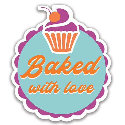 Baked with love, bubble cut shape, 15 per A4 sheet