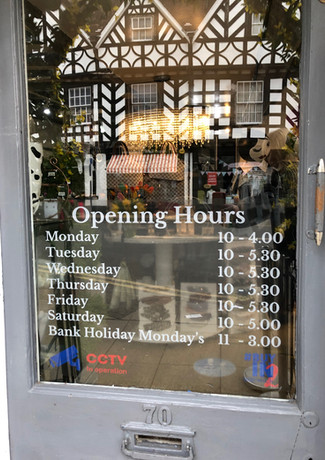 Opening hours white clear vinyl reverse