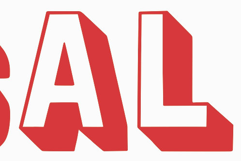 Sale window signs '3D red & white' choose size