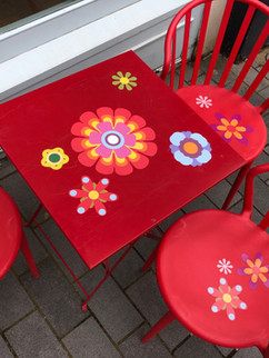 Flower power stickers applied to outside furniture