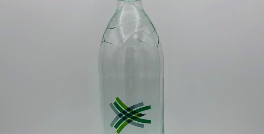 Sparkling water 1 litre glass bottles, 90p each, sold by the case of 12
