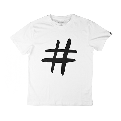 Hashtag Logo Tee - White / Black