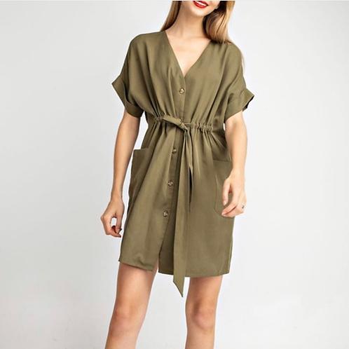 Olive Drawstring Dress