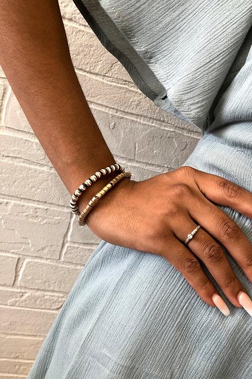 Black, White, and Gold Beaded Bracelet