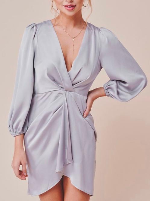 Silver satin twist dress