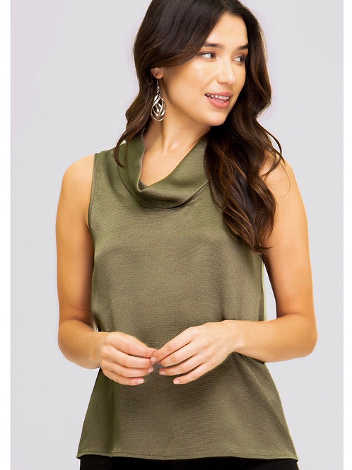 Olive Satin Folded Neck Top