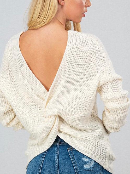Twist Open Back Knit Sweater