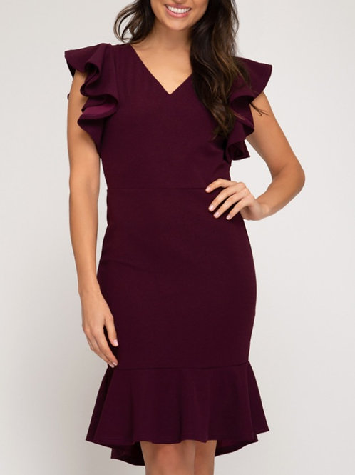 Plum Ruffle High Low Dress