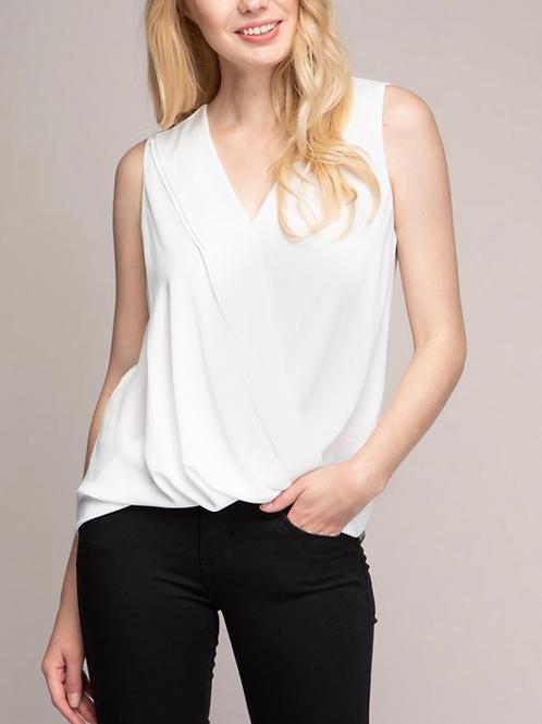White faux wrap blouse