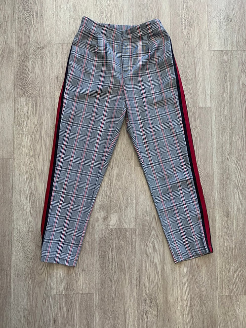 Green Plaid Pants with Stripe