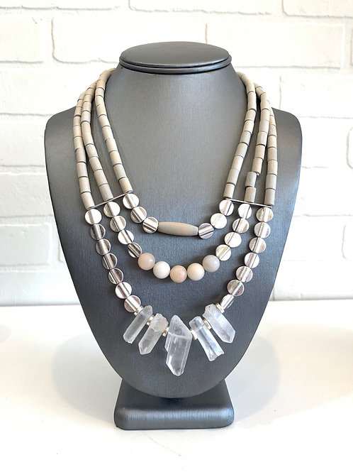Neutral Stone Layered Necklace