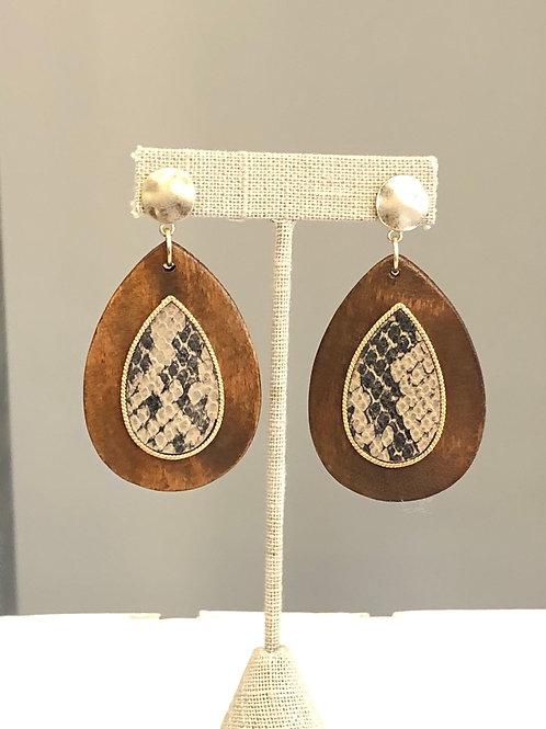 Wood and Snake Skin Earring