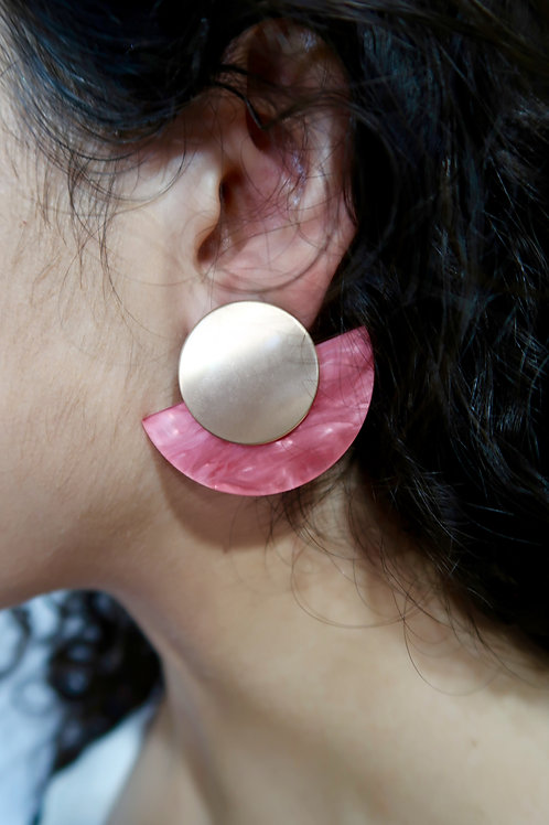 Pink Gold Circle Acrylic Earrings