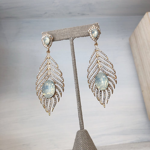 Sparkly Leaf and Gem Earrings