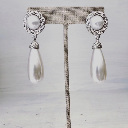 Silver Pearl Teardrop Earrings