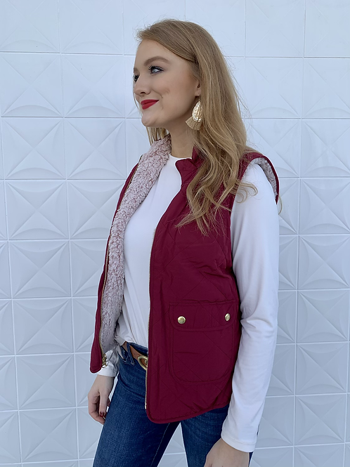 Reversible Quilted Sherpa Vest Wine