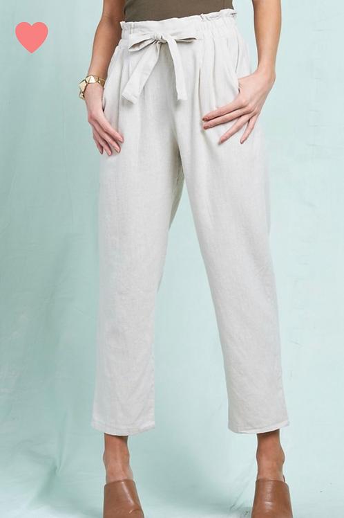 Natural Linen Paperbag Pants