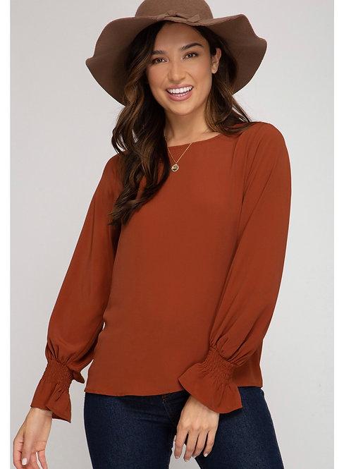Rust cinch wrist blouse