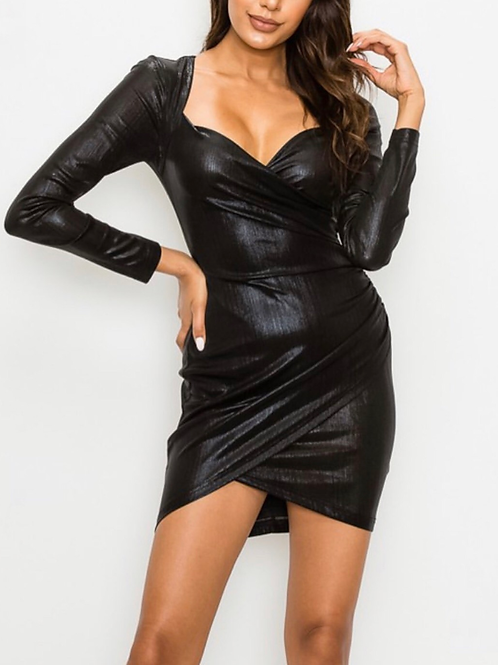 Black Metallic Longsleeve Bodycon Dress