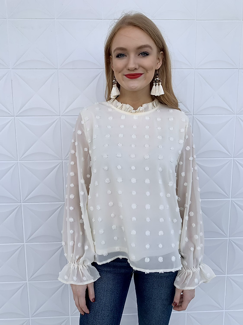 Dotted Long Sleeve Blouse Cream