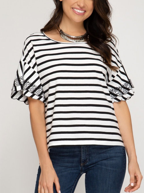 Black Striped Embroidered Sleeve Blouse