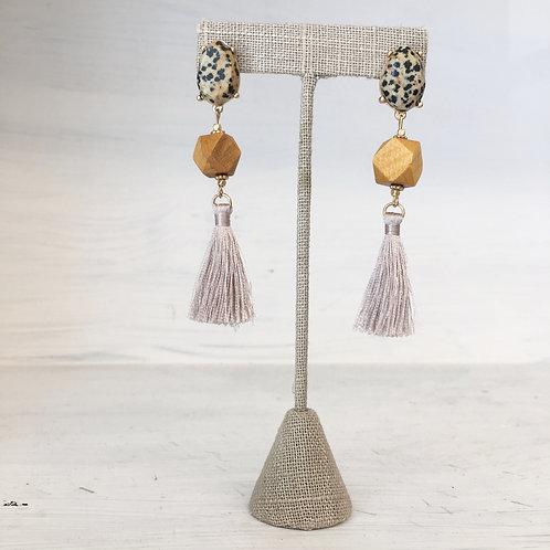 Speckle Wood Tassel Earrings