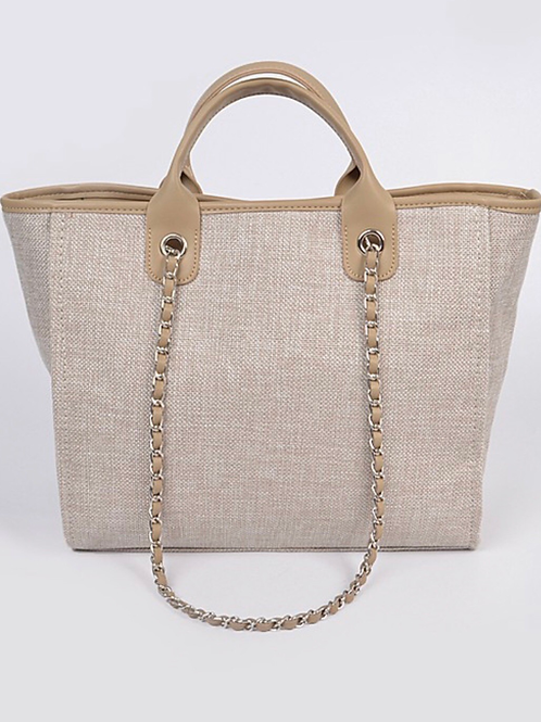 Beige Knit Tote Bag