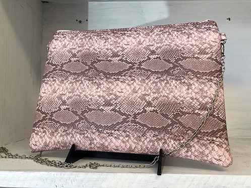 Pink Snake Print Crossbody Clutch