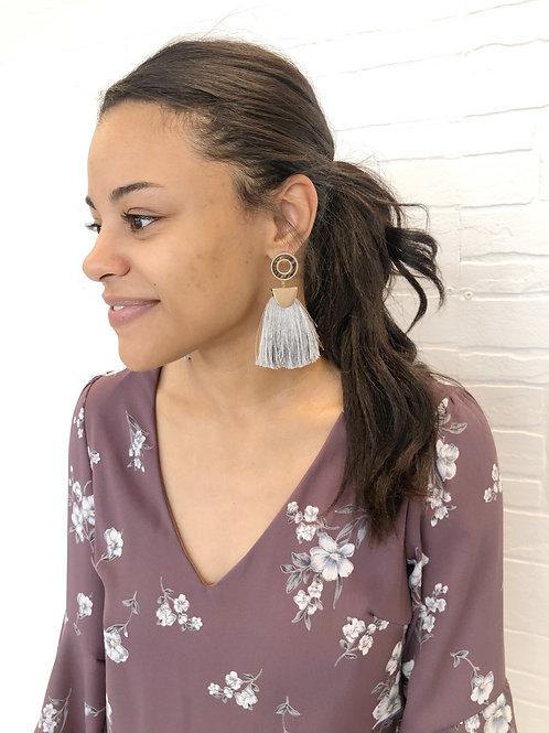 Grey Circle Tassel Earring