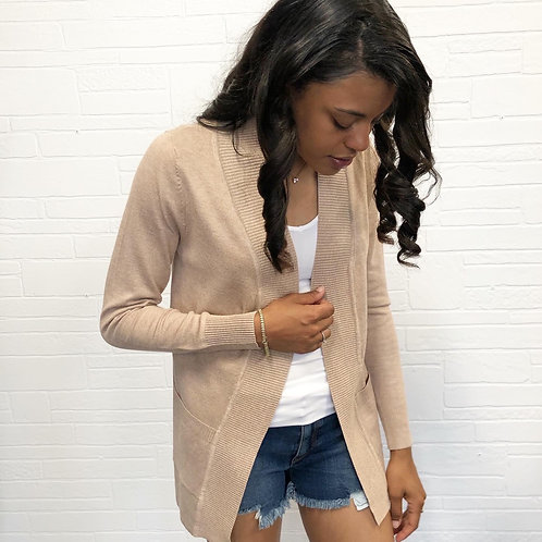 khaki open knit cardigan