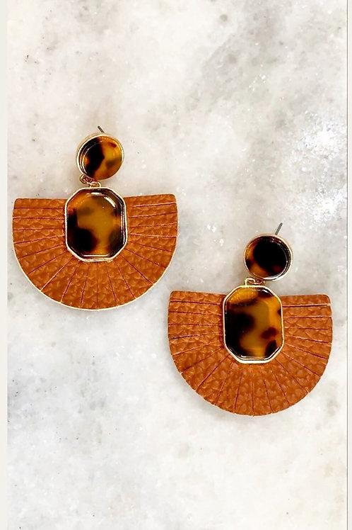 Brown Leather/Leopard earrings