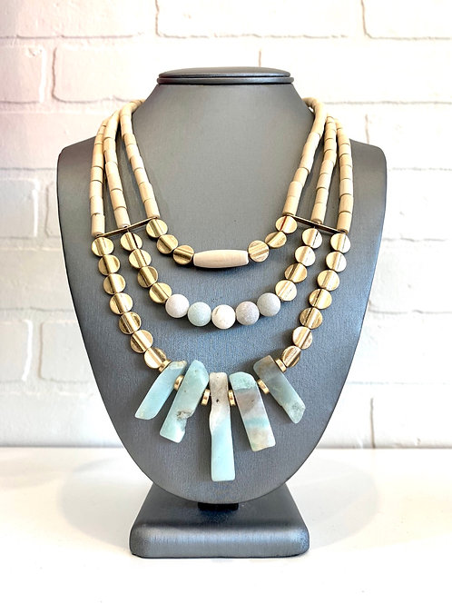 Sage Green Stone Layer Necklace