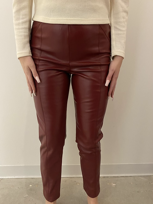 Red Faux Leather Pants