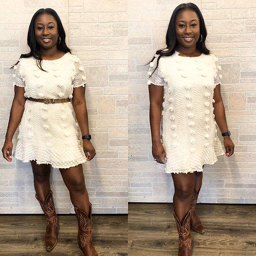 Cream pom pom shift dress