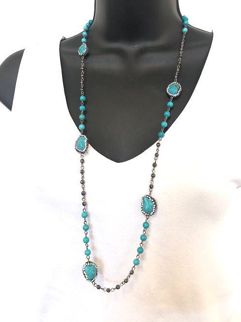 Long Beaded Stone Necklace