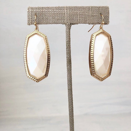 Geometric Pearl and Gold Earrings